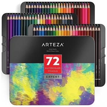 Arteza Professionelle Aquarell Bleistifte — Aquarellstifte Set für Aquarellmalerei — 72 Stifte in Aufbewahrungsbox - 1