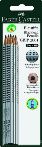 Faber-Castell 117697 - 6 Bleistifte GRIP 2001, Härtegrad: HB, Schaftfarbe: silber - 2
