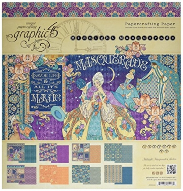 Graphic 45 Midnight Masquerade Papier Pad, mehrfarbig, 12 x 12 Zoll - 1