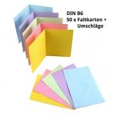 Sparset 50 x Faltkarten DIN B6 blanko farbig gemischt + 50 x Umschläge - 1