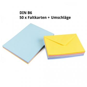 Sparset 50 x Faltkarten DIN B6 blanko farbig gemischt + 50 x Umschläge - 3