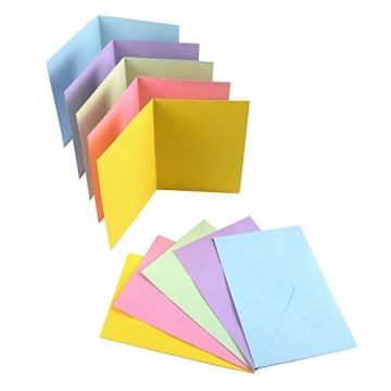 Sparset 50 x Faltkarten DIN B6 blanko farbig gemischt + 50 x Umschläge - 6